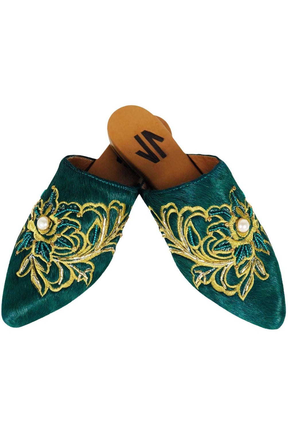 Columbian Leather Embroidered Mules in Green - Himelhoch's