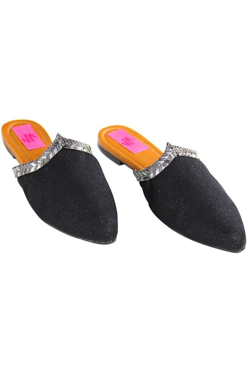 Black and Silver Mules in Columbian Leather and Textiles - Himelhoch's
