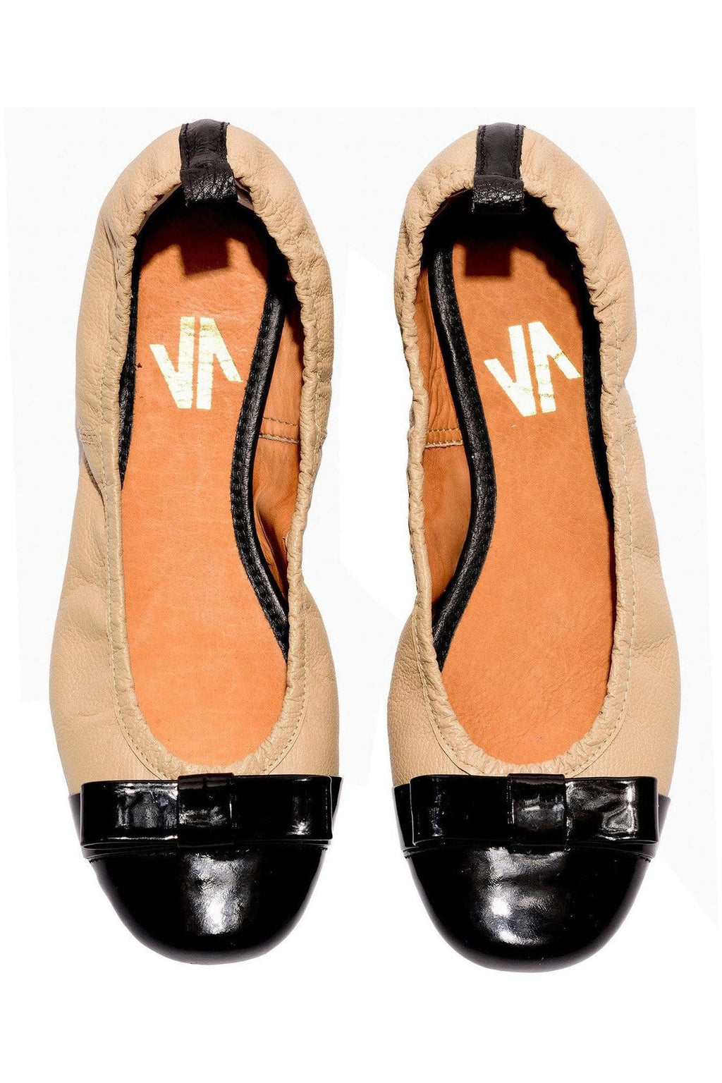 Columbian Leather Ballerina Flats in Sand - Himelhoch's