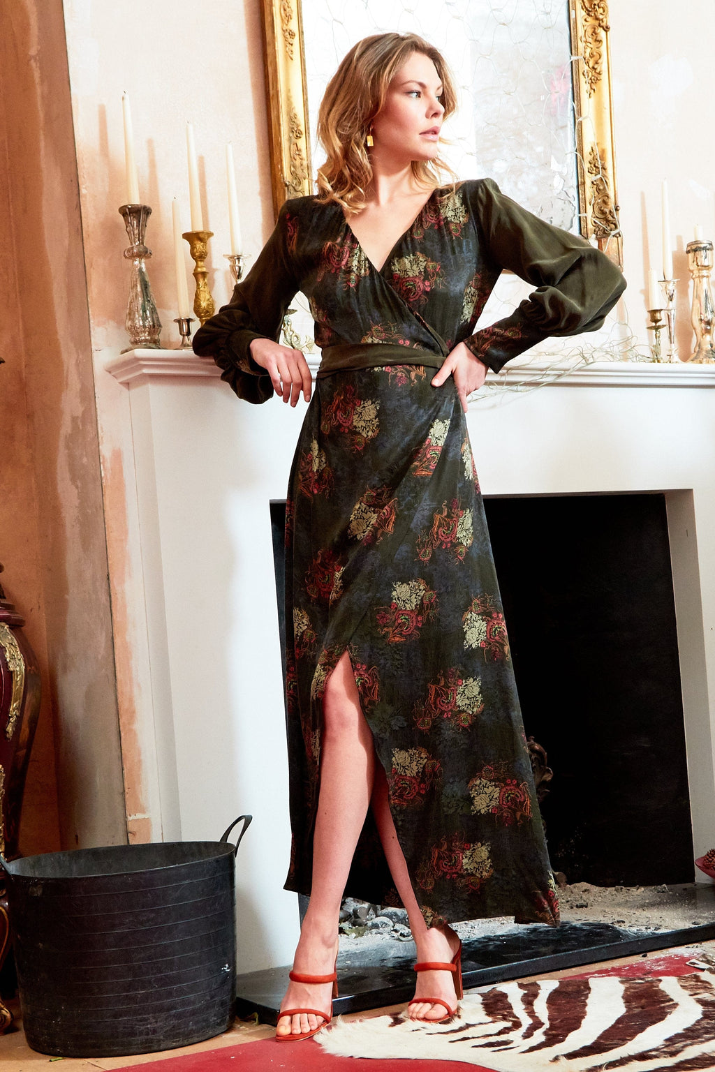 VERDANT - V-neck Jacquard Wrap Maxi Dress with Side Slit - Himelhoch's