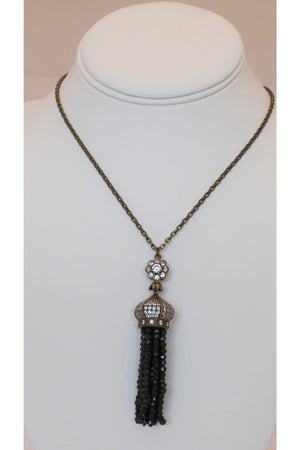 Austrian Crystal Pendant with Faceted Black Onyx Tassel