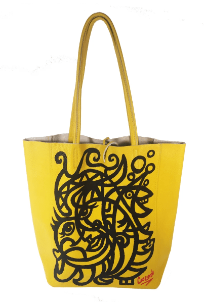 Hand Painted Cascardo Tote Bag (Yellow) - Himelhoch's
