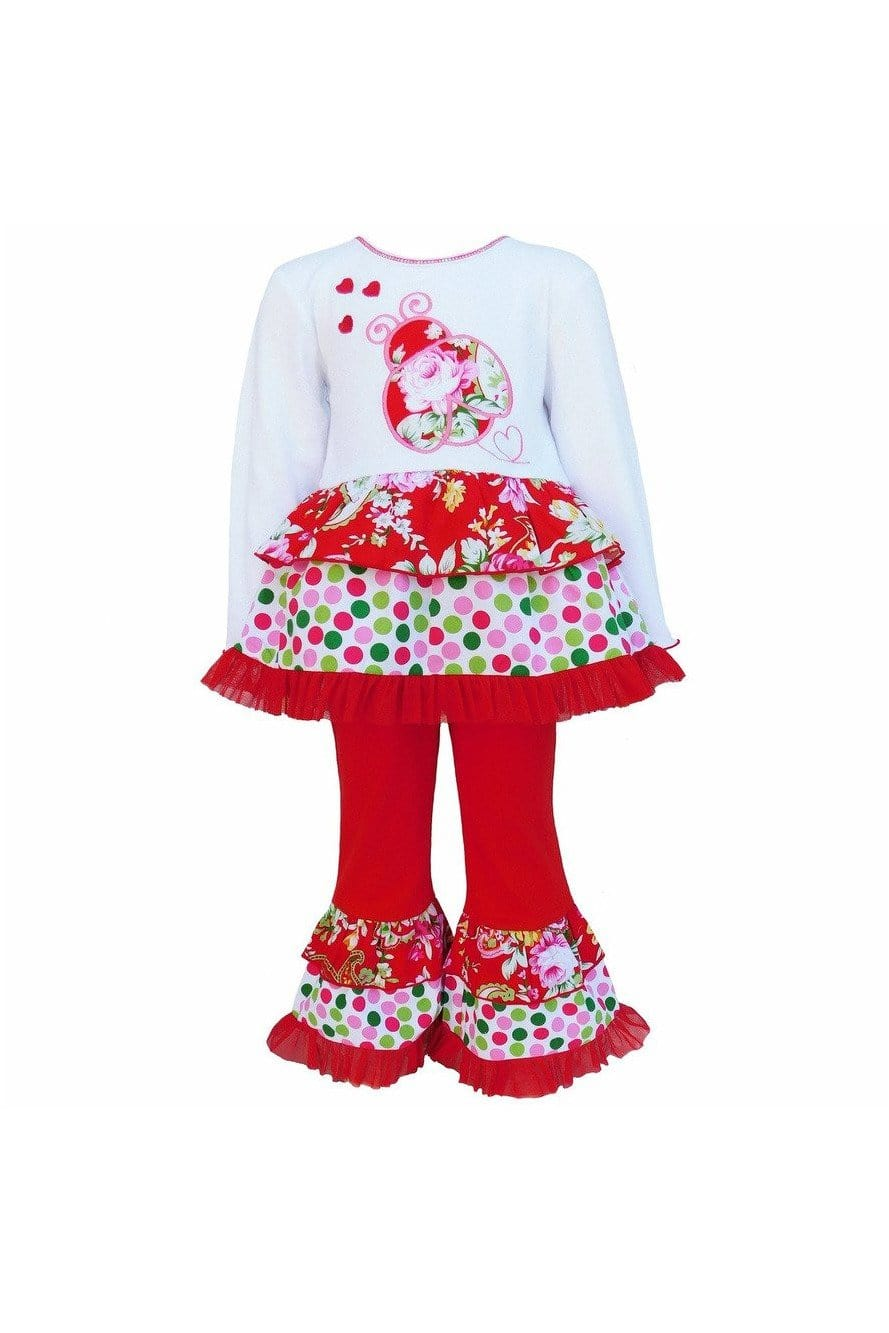 AnnLoren Girls Red Polka Dot & Floral Ladybug Holiday Rumba Set - Himelhoch's