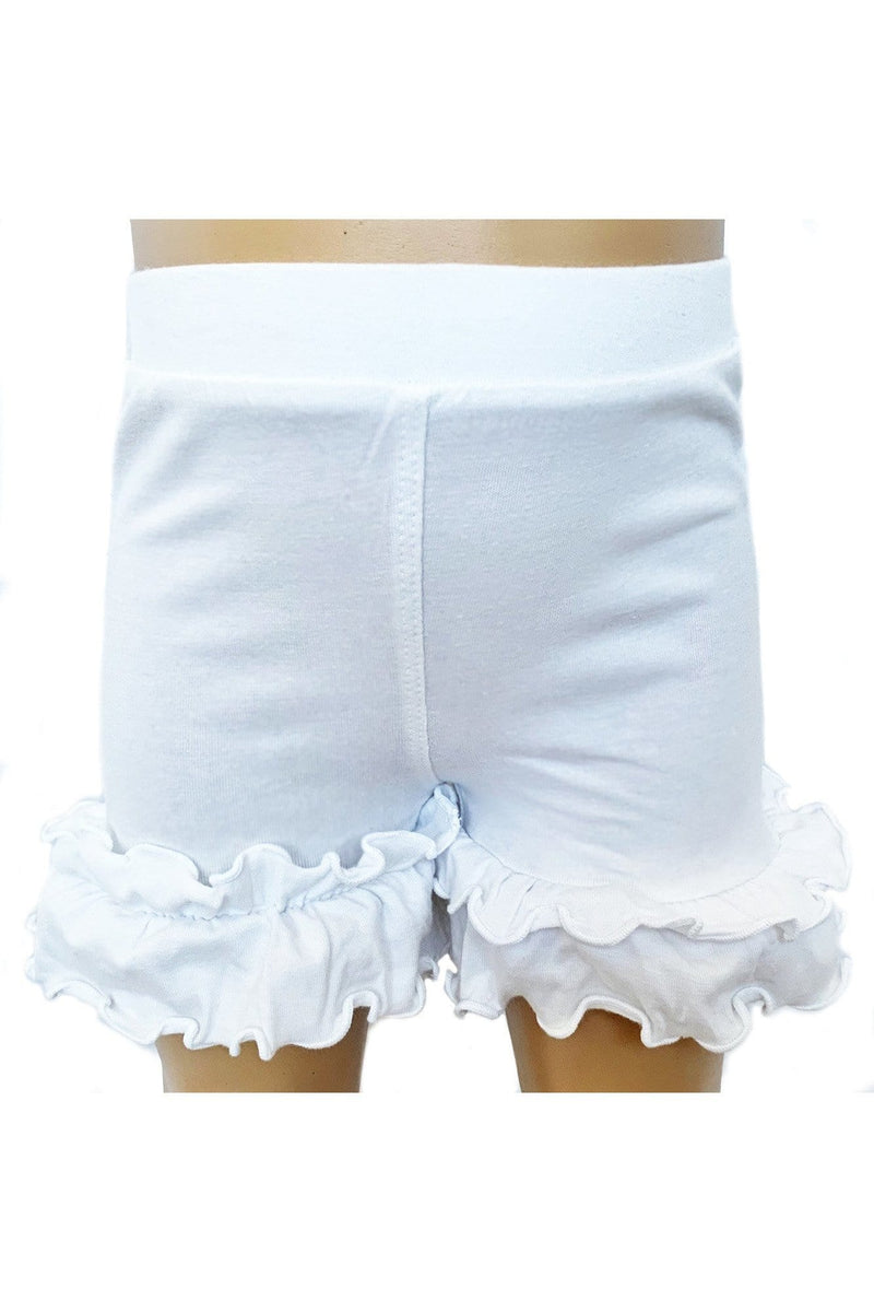AnnLoren Girls White Knit Ruffle Shorts 4/5T-7/8 - Himelhoch's