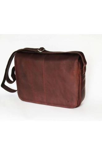 Vintage Leather Messenger Bag For Men & Women in Brown - Himelhoch's