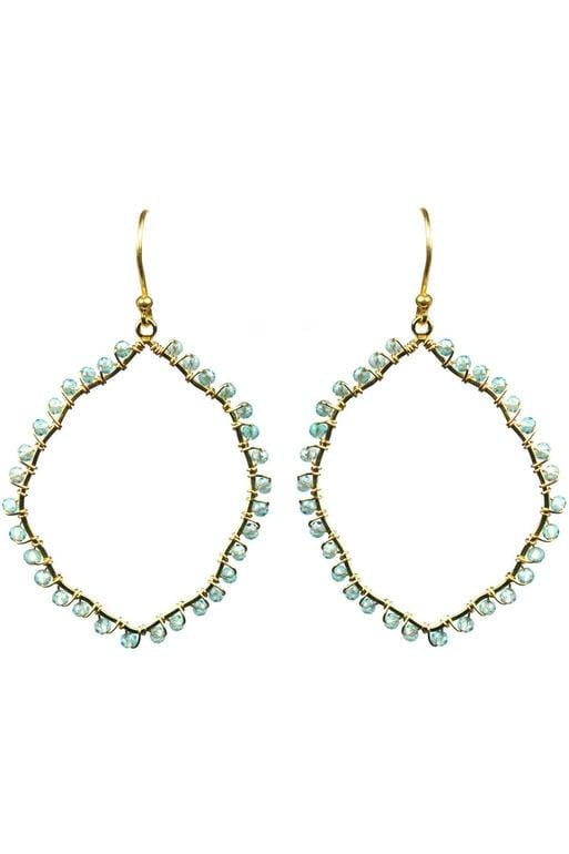 Aquamarine Organic Hoop Vermeil Earrings