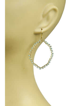 Aquamarine Organic Hoop Vermeil Earrings - Himelhoch's