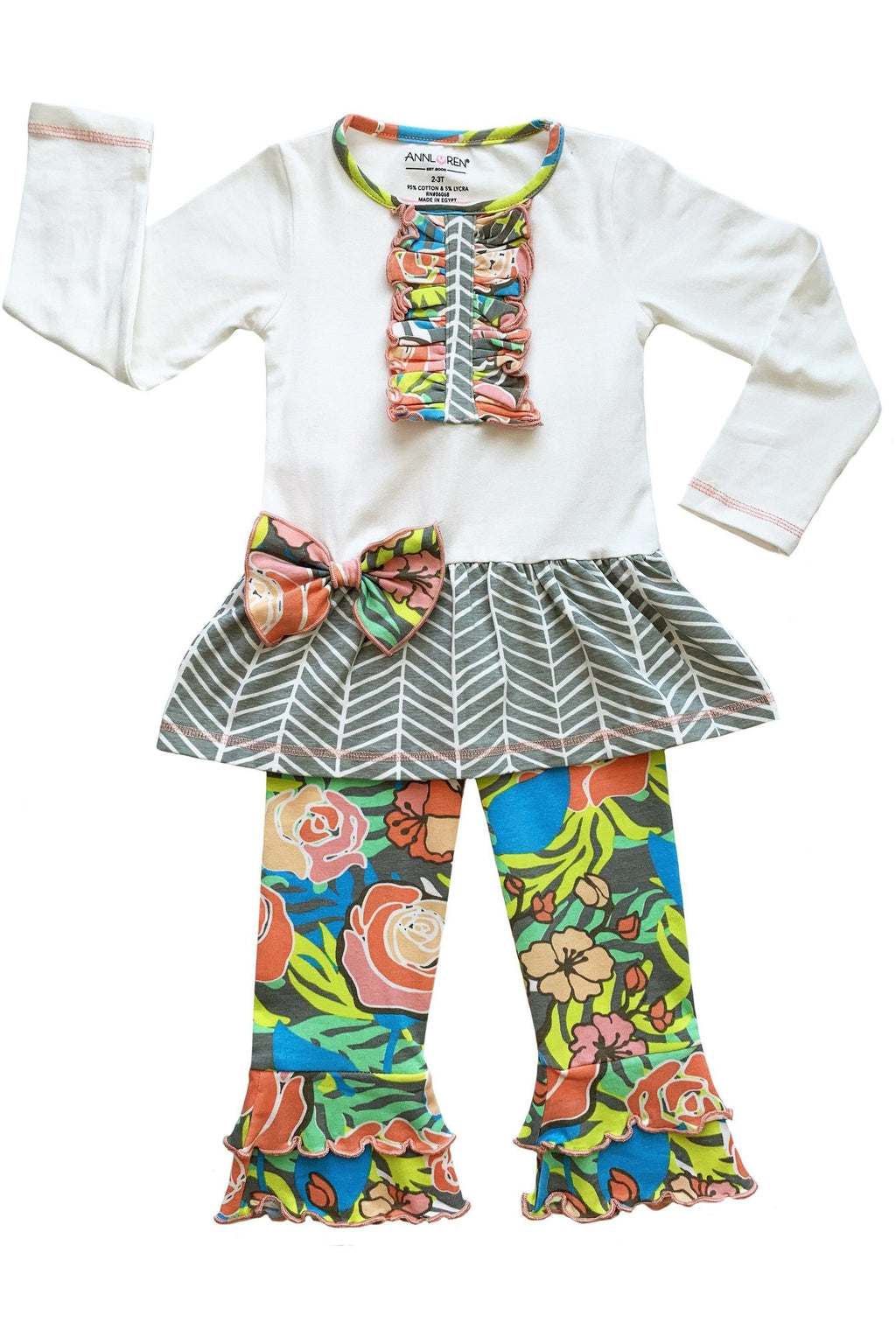 AnnLoren Girls Herringbone Floral Tuxedo Bow Tunic & Pants Clothing Outfit Set sz 12M-9/10 - Himelhoch's