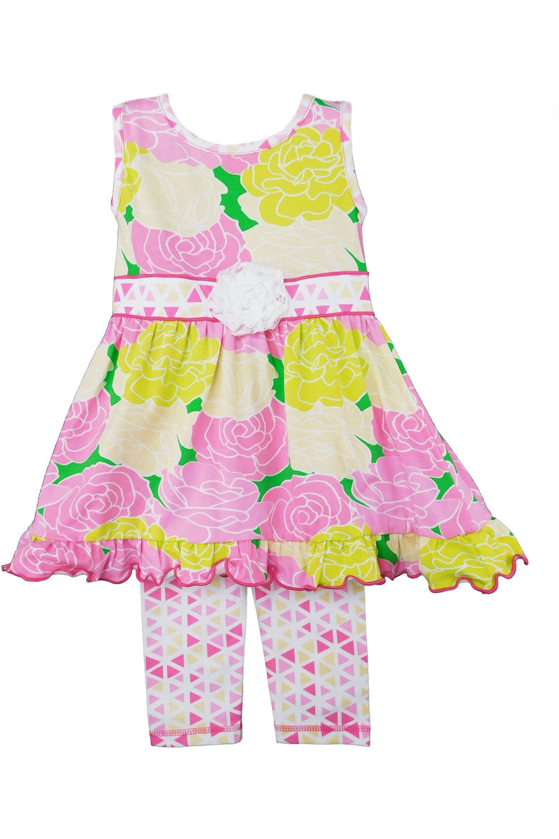 AnnLoren Big Little Girls Toddler Boutique Bouquet Spring Floral Dress & Capri Legging Party Outfit - Himelhoch's