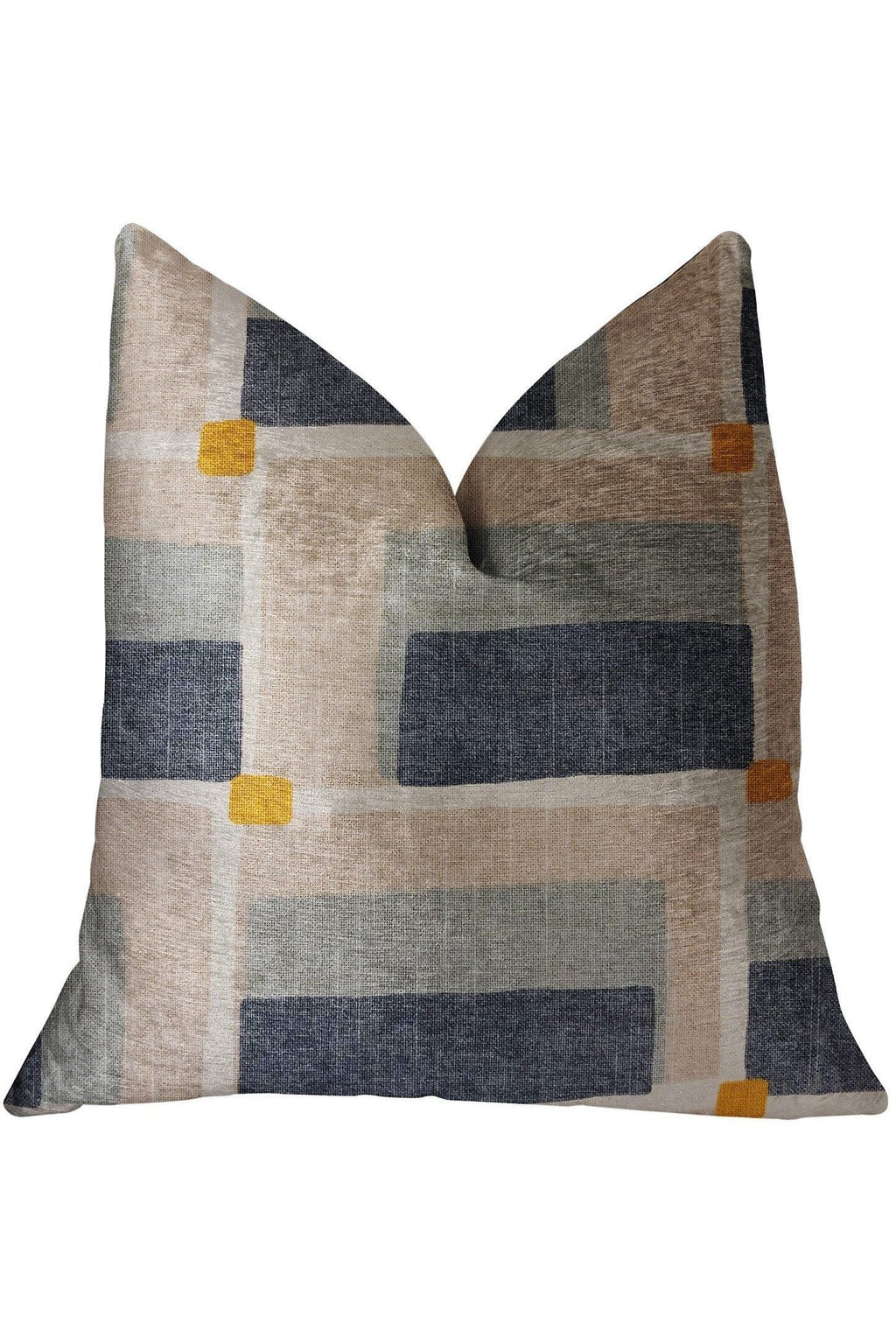 Bay Window Blue and Beige Luxury Throw Pillow - Himelhoch's