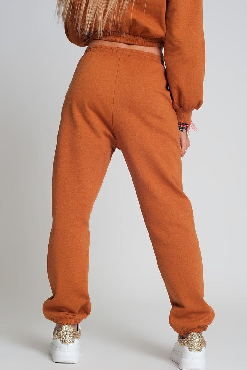 Basic Sweatpants with Tie Waist in Cotton in Camel - Himelhoch's