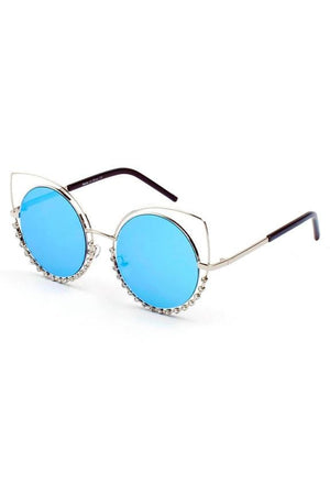 HOLLAND | A21 - Designer Pearl-Studded Cut-Out Cat Eye Princess Sunglasses - Himelhoch's