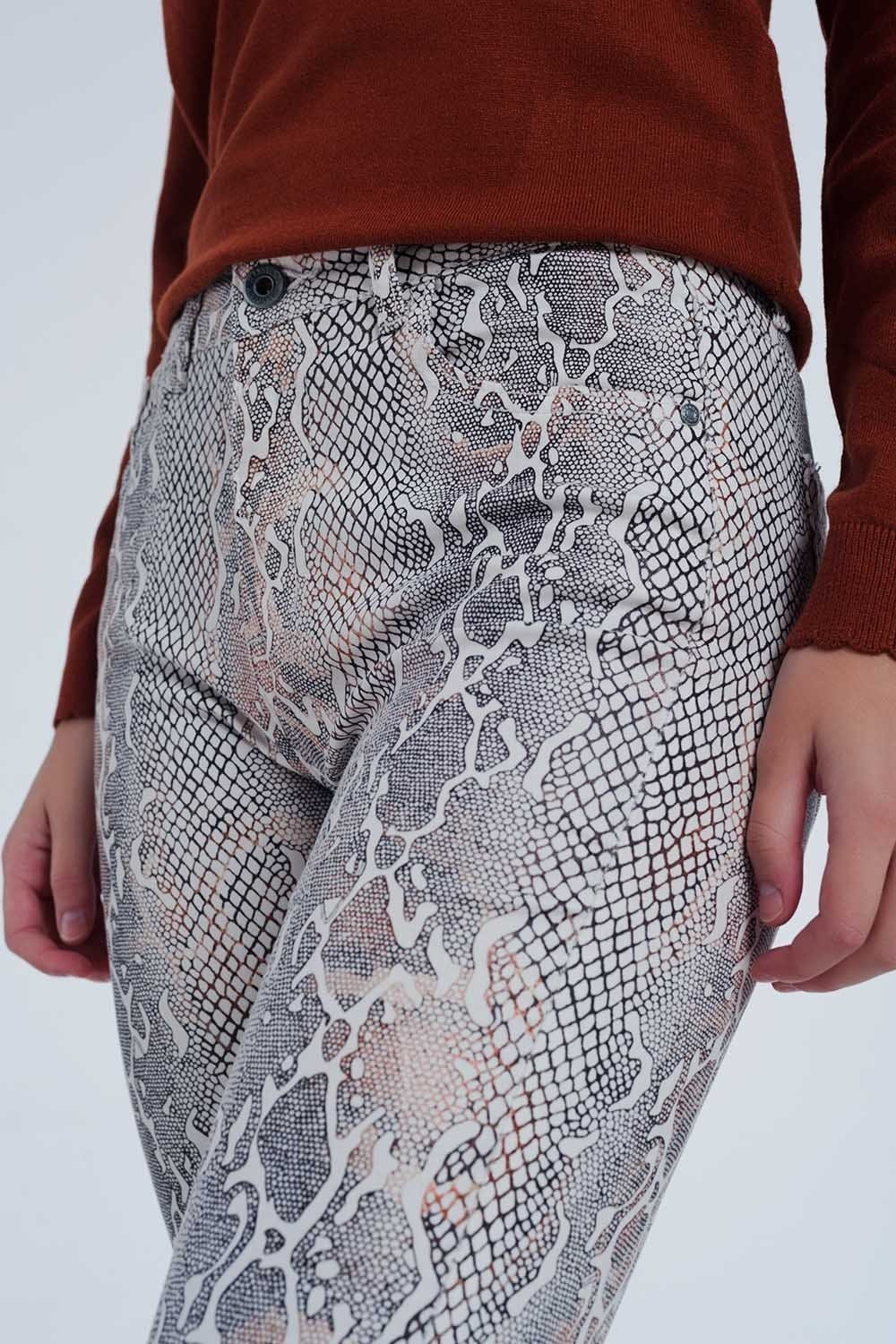 Beige coloured pants with snake print - Himelhoch's