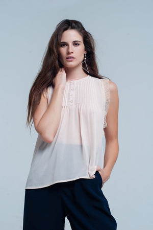 Beige sleeveless top with lace details - Himelhoch's