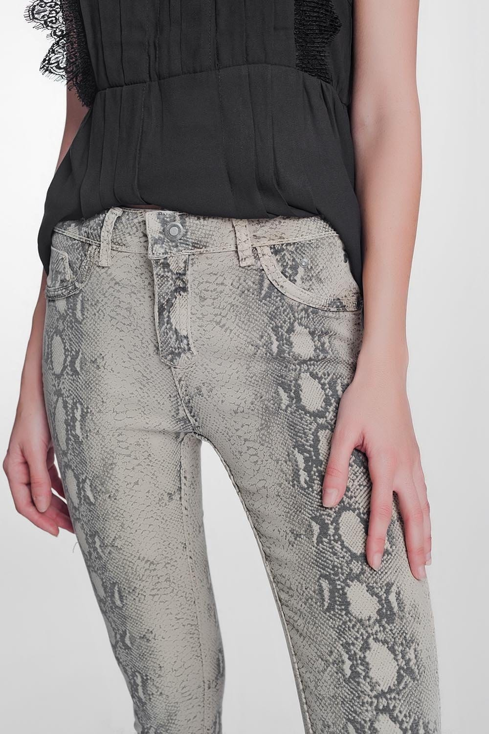 Beige Super Skinny Reversible Pants with Snake Print - Himelhoch's