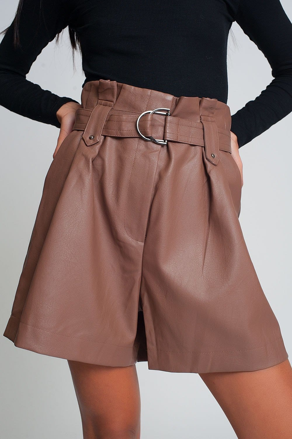 Belted Faux Leather Shorts in Pink - Himelhoch's