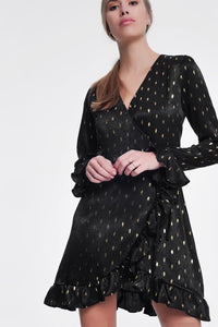 Q2 Black dress with gold shiny spots