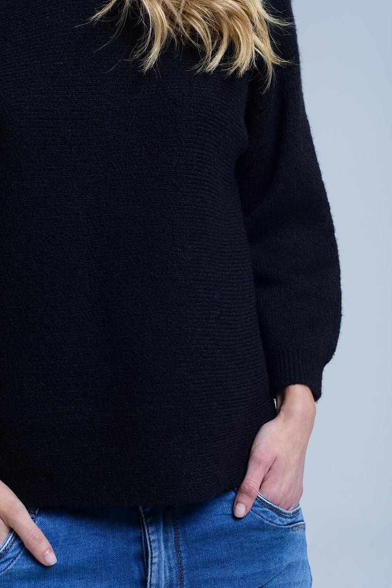 Black knitted crew neck sweater - Himelhoch's