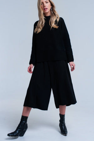 Black knitted sweater with open side detail - Himelhoch's