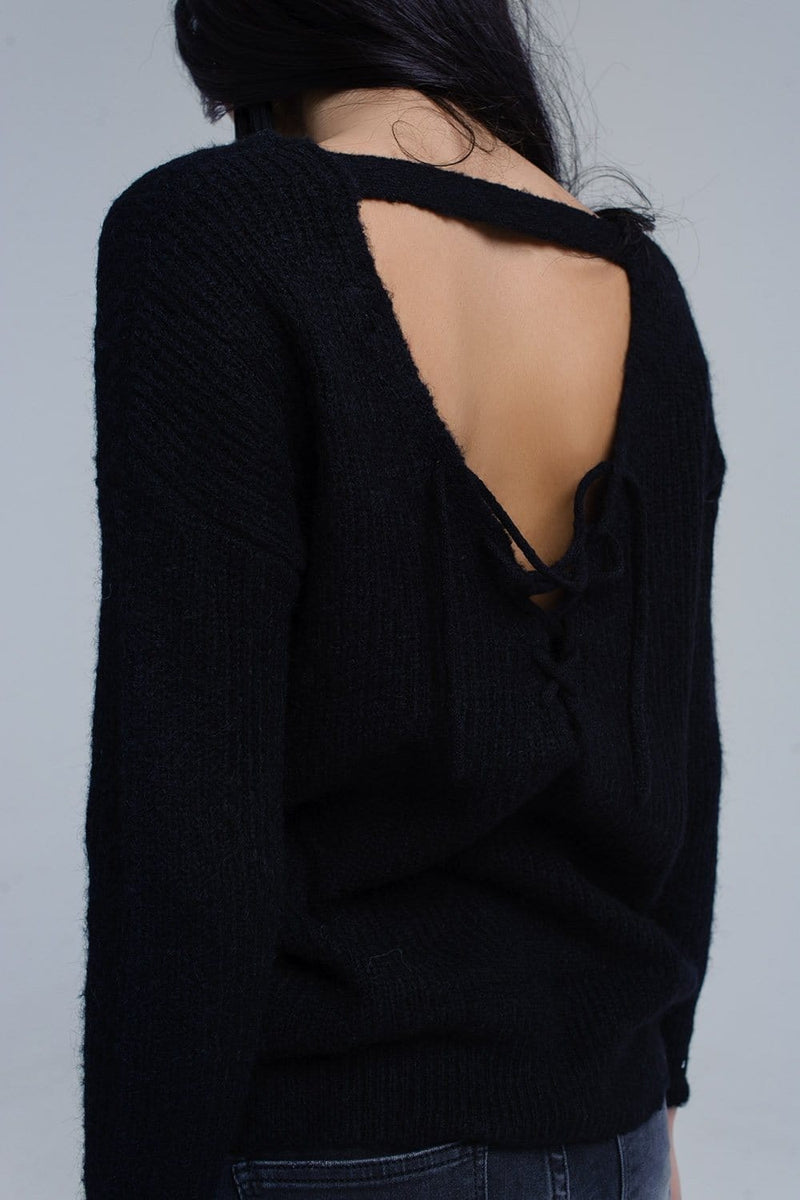 Black knitted sweater with tie-back closure - Himelhoch's
