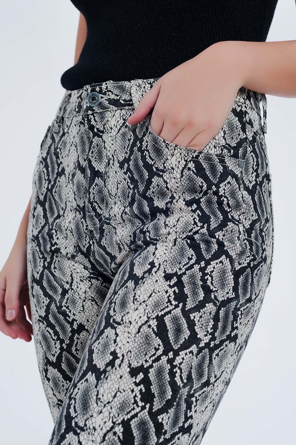 Black pants with snake print - Himelhoch's