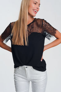 Q2 Black shirt with flowers in lace