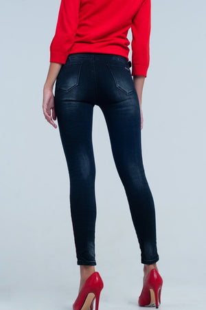 Black skinny leg jeans with side stripe