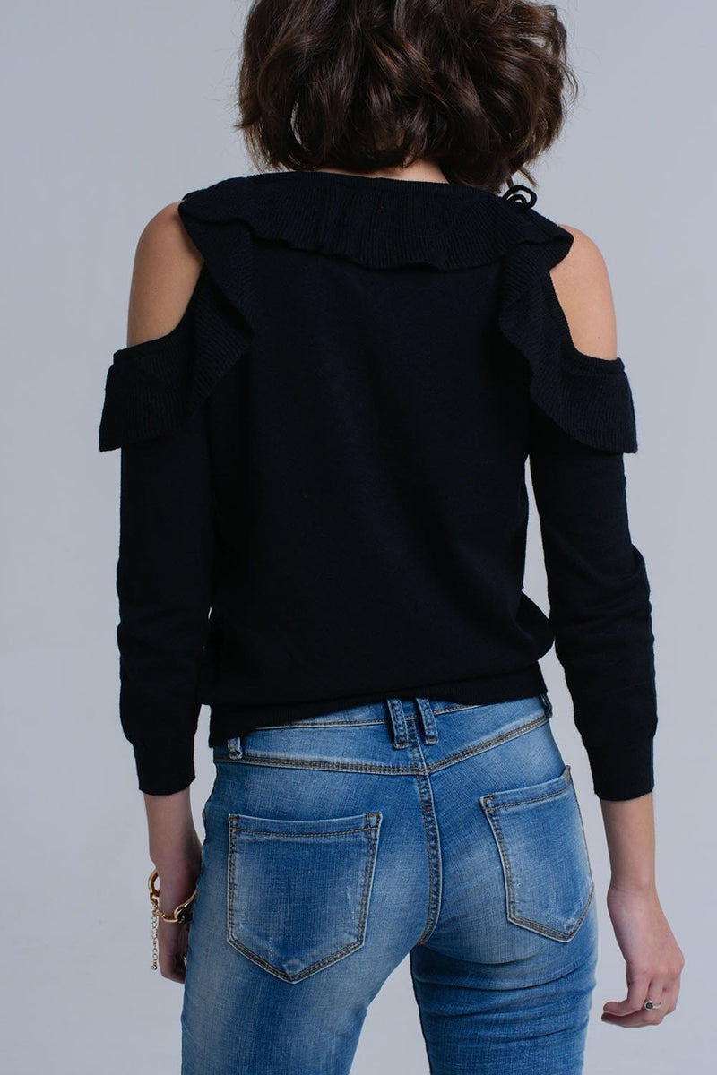 Black sweater with ruffle detail at front - Himelhoch's
