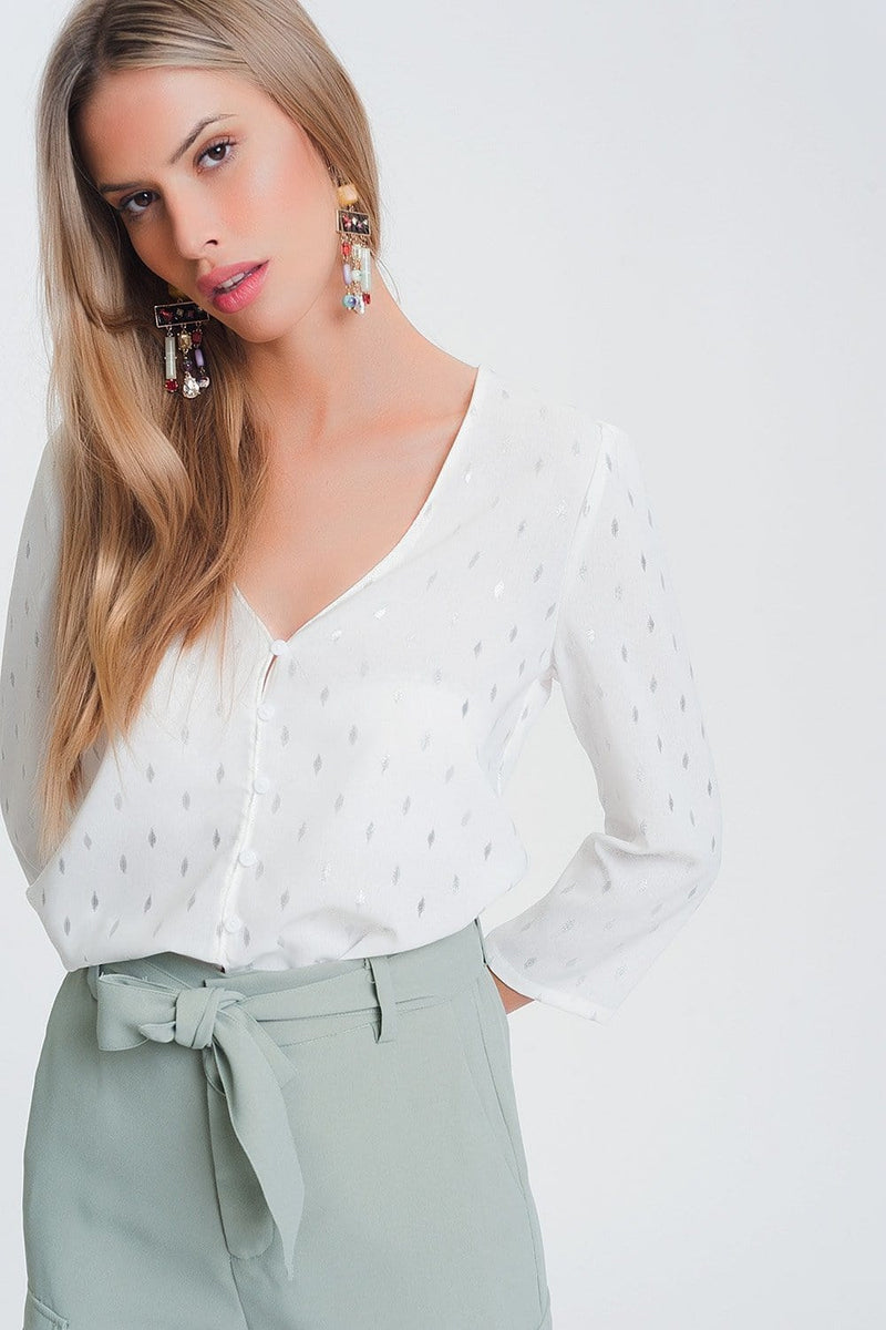 Q2 Blouse with v neck in white metallic print