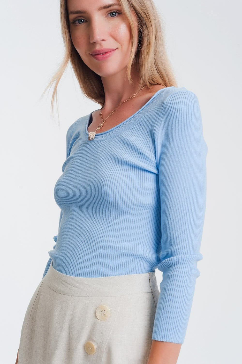 Q2 Blue knitted wide neck sweater