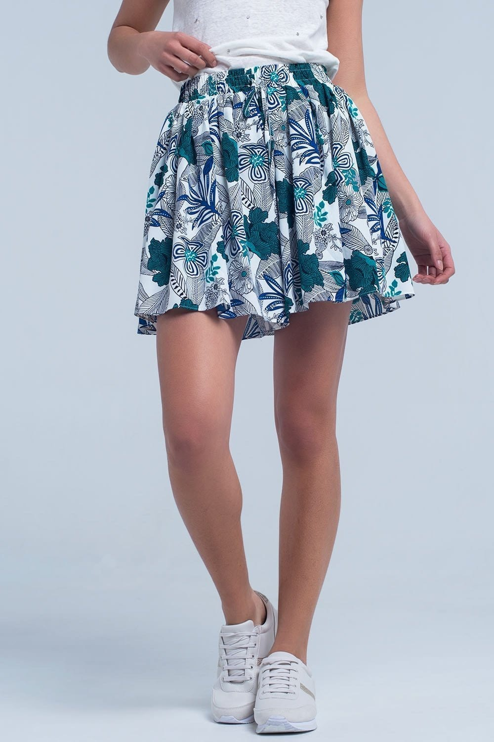 Blue mini skorts with floral print - Himelhoch's