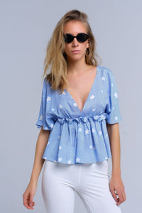 Blue top with stars and ruffle - Himelhoch's
