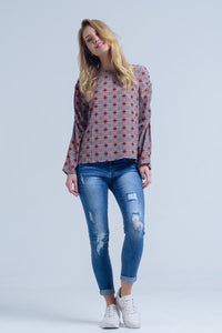 Bordeaux top with check print - Himelhoch's