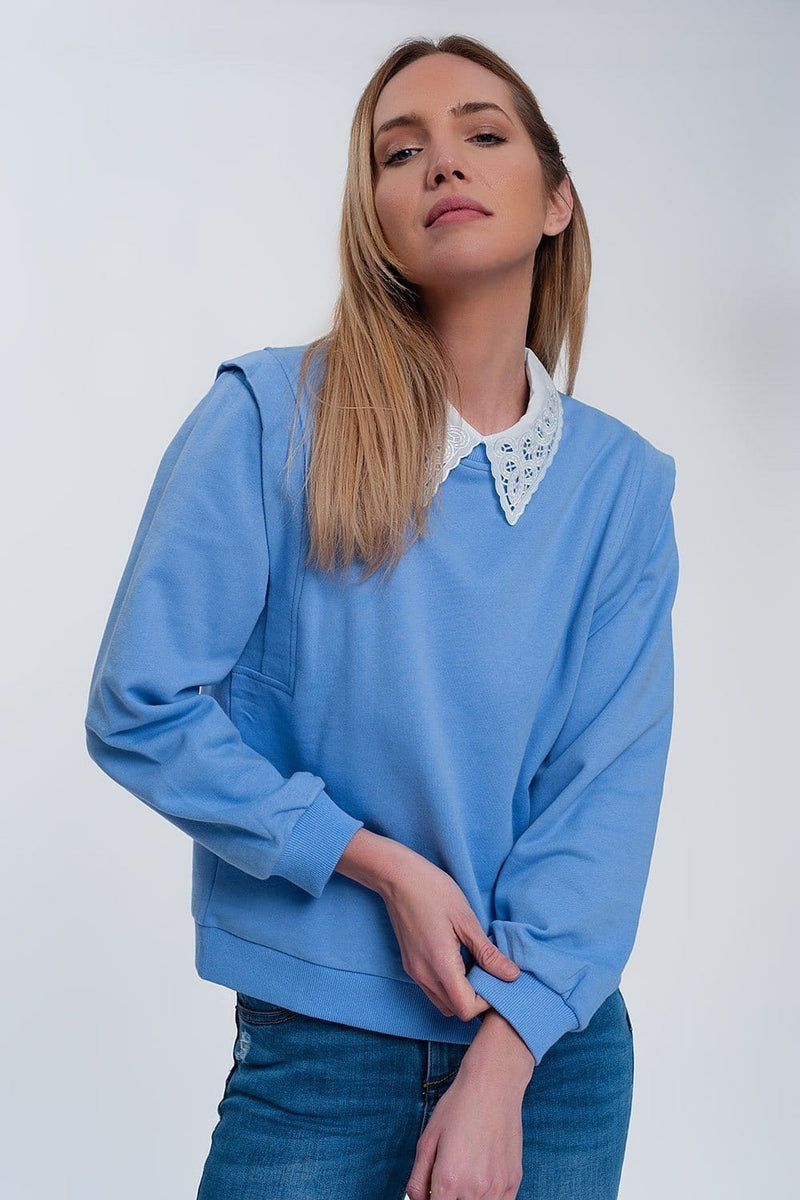 Boyfriend Sweatshirt with Shoulder Details in Blue - Himelhoch's