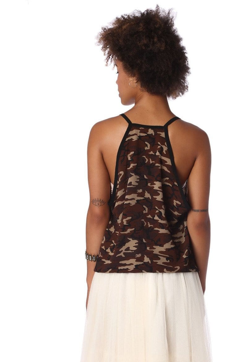 Brown camo print dip hem top - Himelhoch's