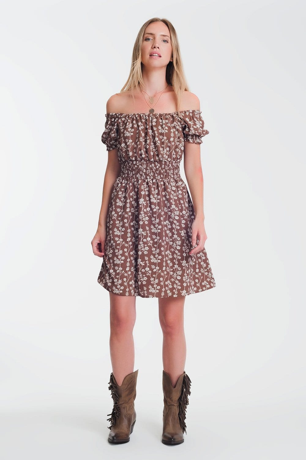 Q2 Brown mini bardot dress in floral print