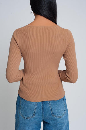 Brown Ribbed Wrap Sweater with V-Neck - Himelhoch's