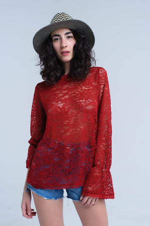 Q2 Burgundy sheer lace top with bell sleeves