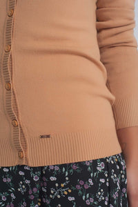 Button Front Cropped Knit Cardigan in Camel - Himelhoch's