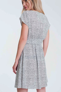 Button through smock white dress in ditsy print