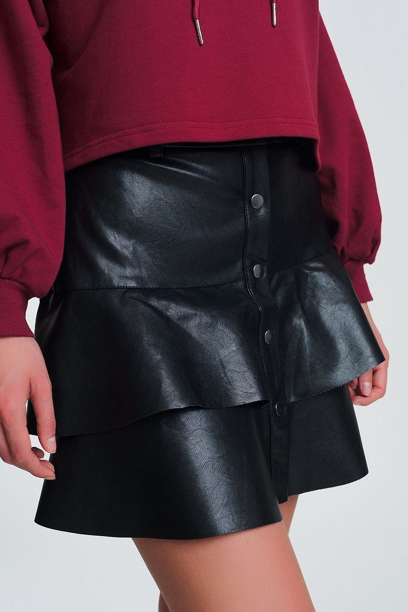 Button Up Faux Leather Mini Skirt with Ruffles in Black - Himelhoch's