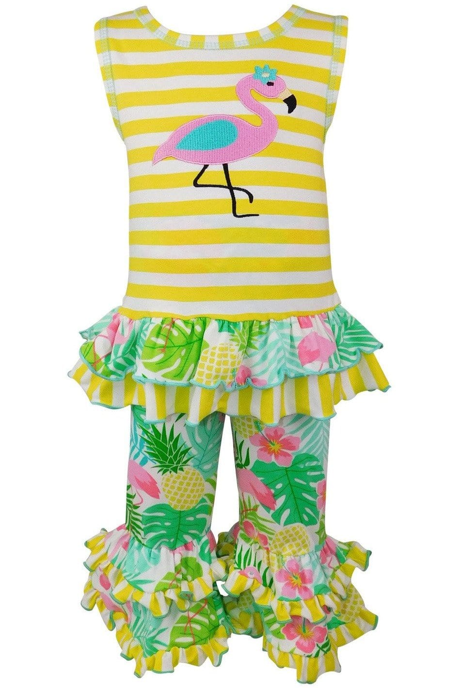 AnnLoren Big Little Girls' Pink Flamingo Palm Striped Tunic & Capri Pants Toddler Holiday Outfit - Himelhoch's