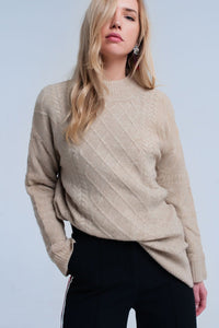 Cable knit beige sweater