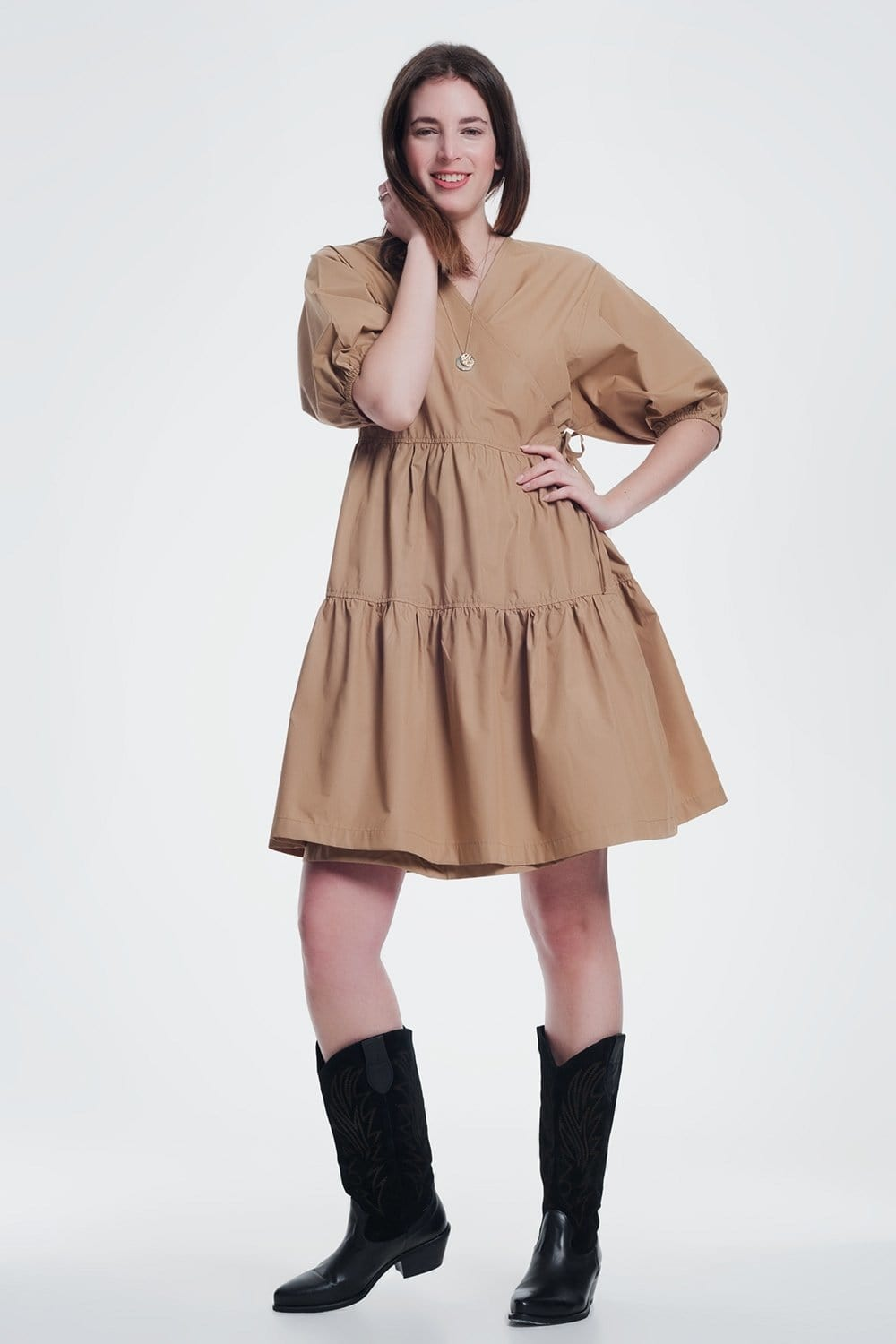 Q2 camel baggy mini dress with short sleeves