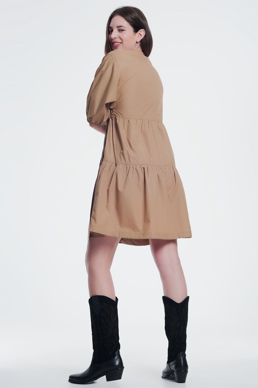 Camel Baggy Mini Dress with Short Sleeves - Himelhoch's