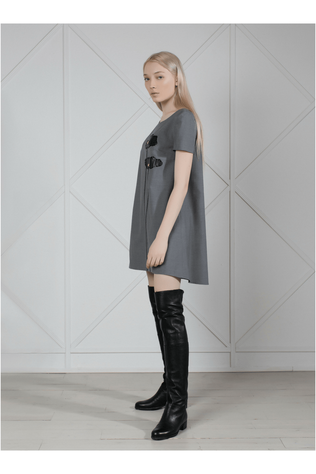 "Gray wool asymmetric mini dress ""Poppies"" - Himelhoch's"