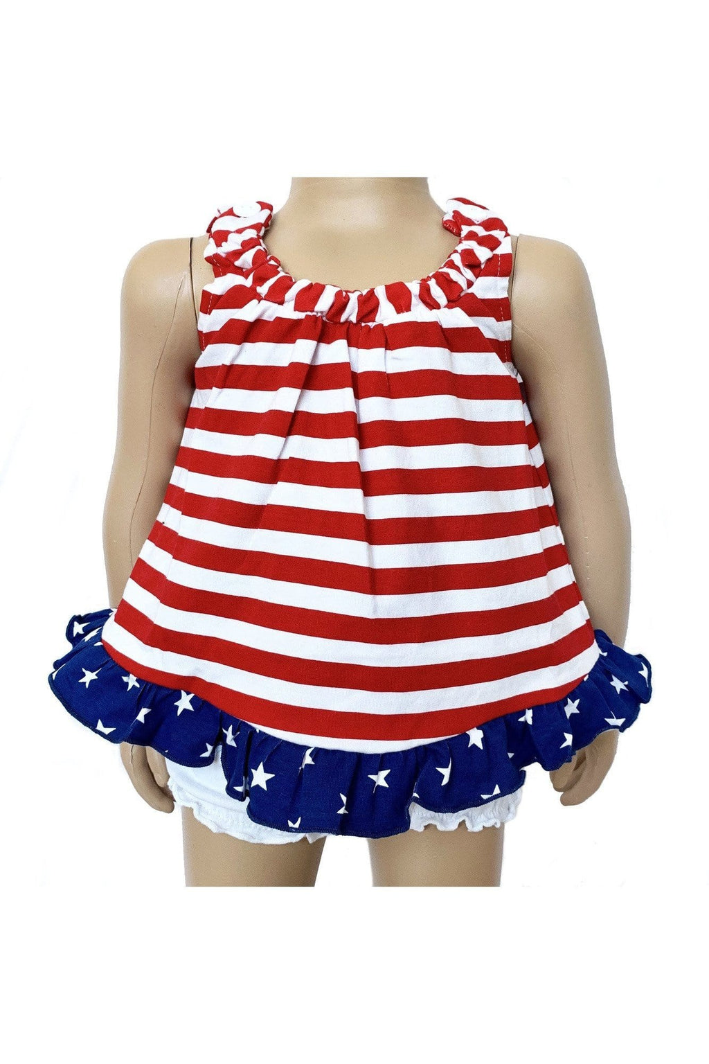 AnnLoren Baby Girls 4th of July Swing Tank Top with Ruffle Trim and Bow Sizes 3M-6 Yrs - Himelhoch's
