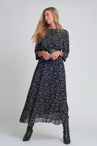 Q2 Chiffon maxi dress with puff sleeve and belt in black floral print