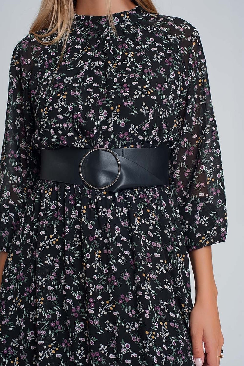Chiffon Maxi Dress with Puff Sleeve and Belt in Black Floral Print - Himelhoch's