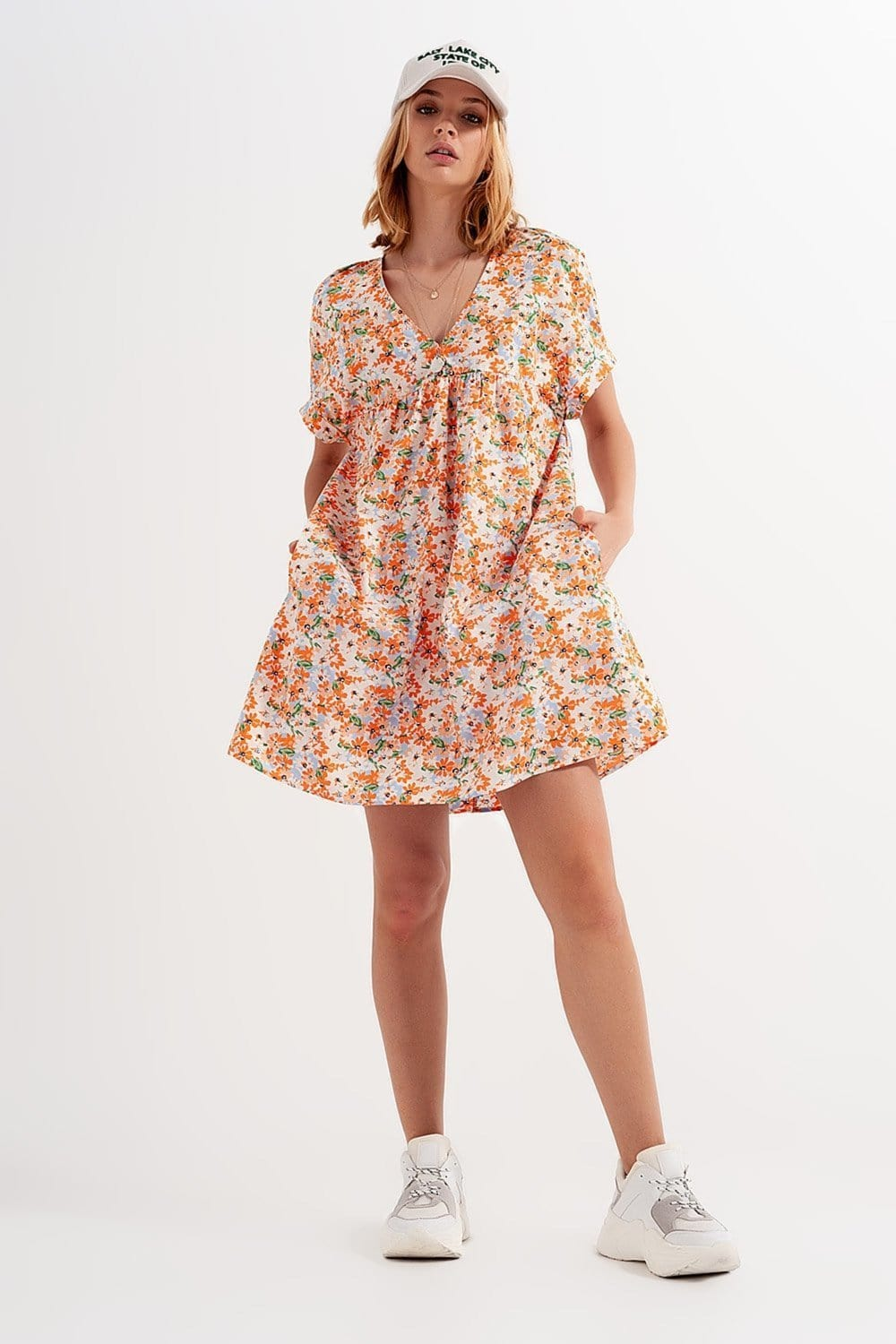 Cotton Babydoll Mini Dress in Orange Floral - Himelhoch's